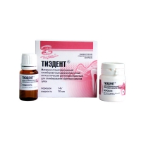 Антисептический цинкоксидэвгенольный материал Тиэдент (порошок 14 г + жидкость 10 мл), 0001128